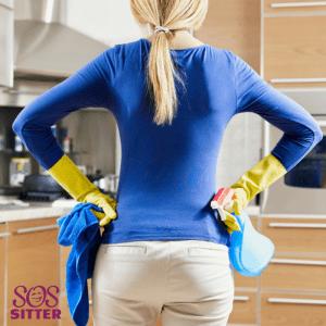 housekeeper inspecting the job